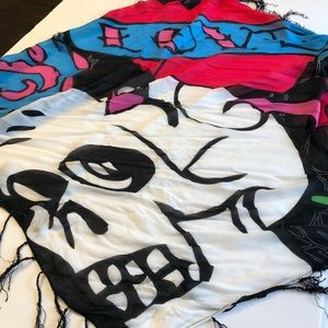 SUGAR SKULL SCARF BLACK, PINK AND BLUE